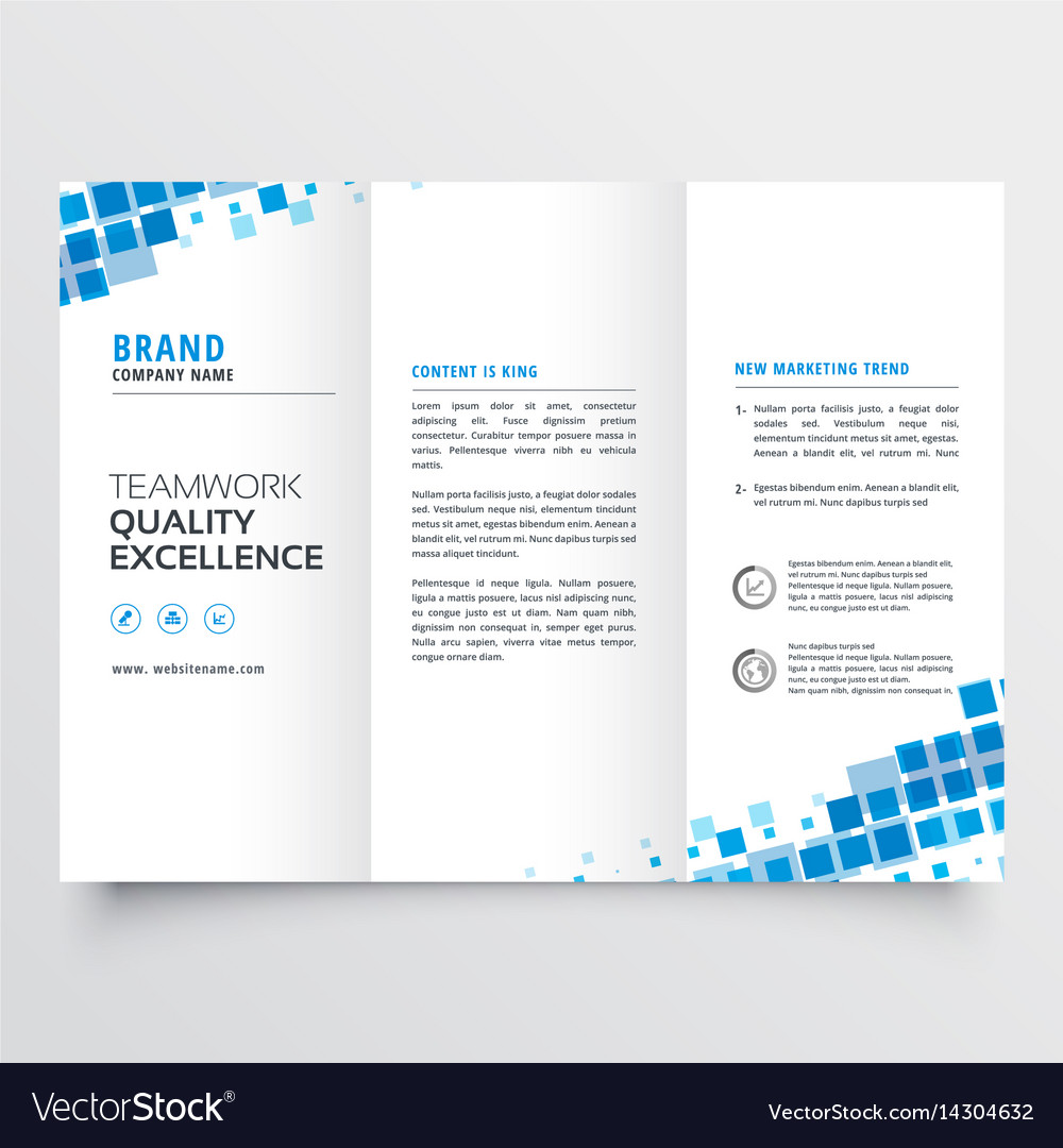 clean tri fold brochure template design with blue vector image