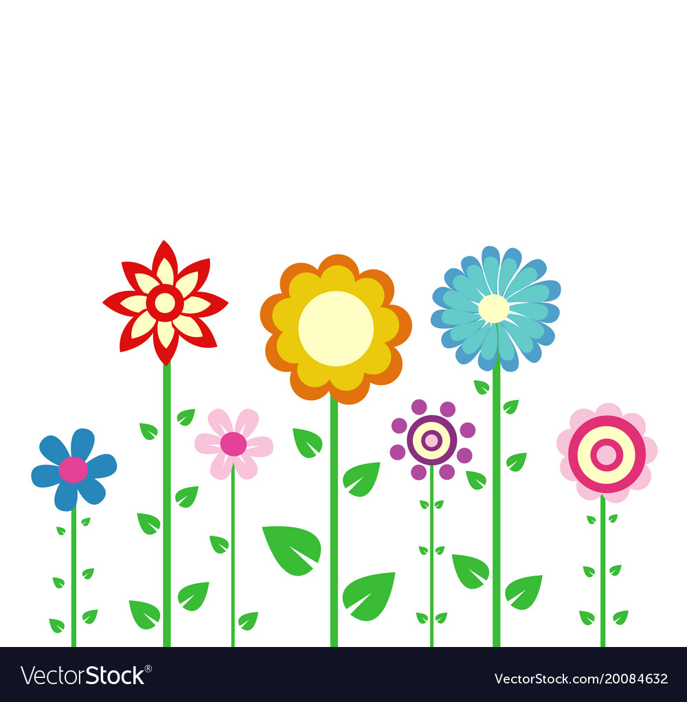 Colorful Spring Flowers Royalty Free Vector Image
