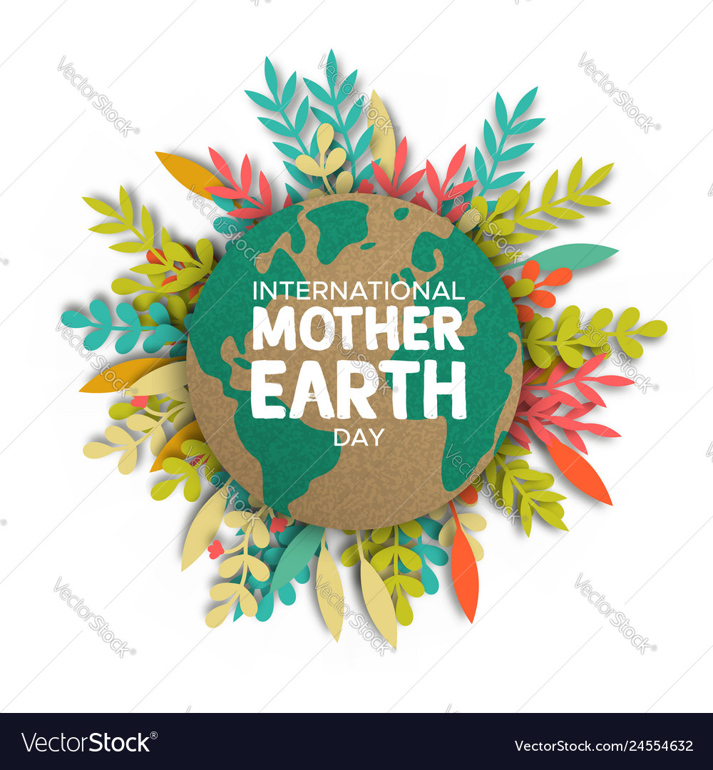 Earth day card of paper cut leaves and world map