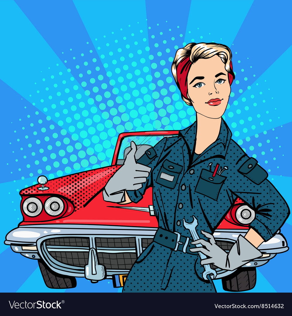 Girl with Tools Vintage American Car Pop Art Vector Image