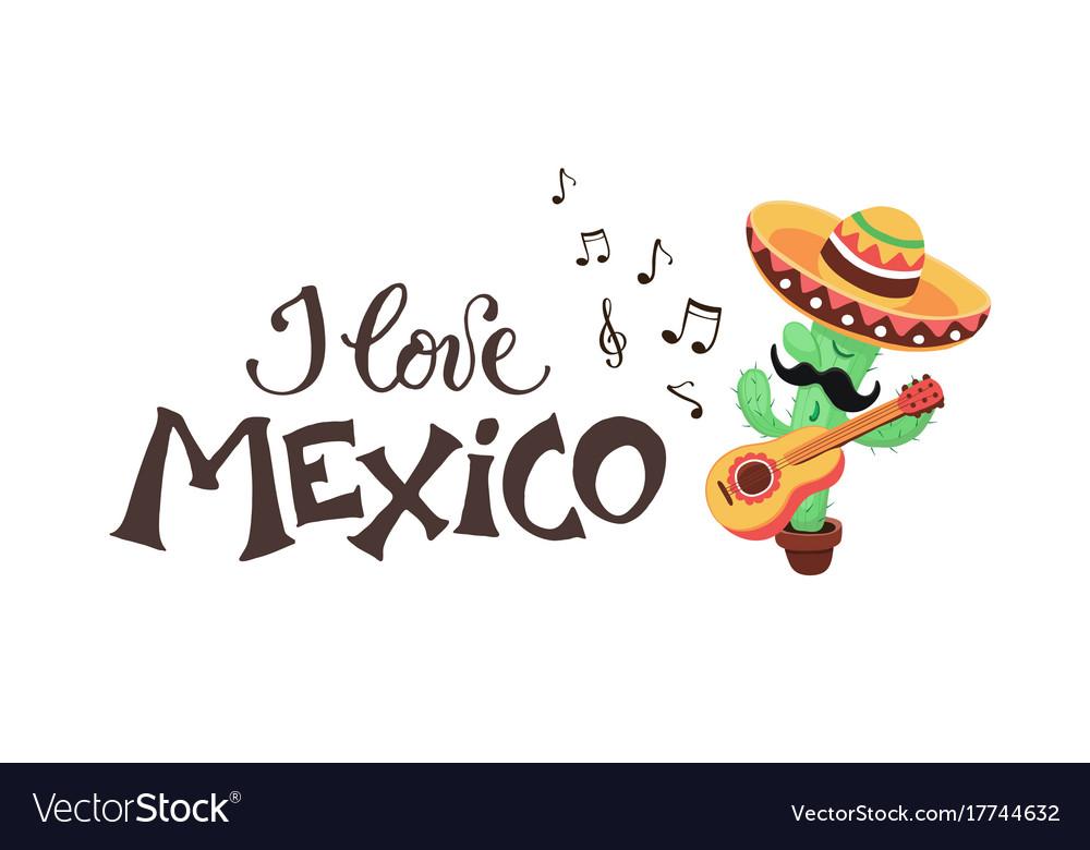 I love mexico cactus vector image