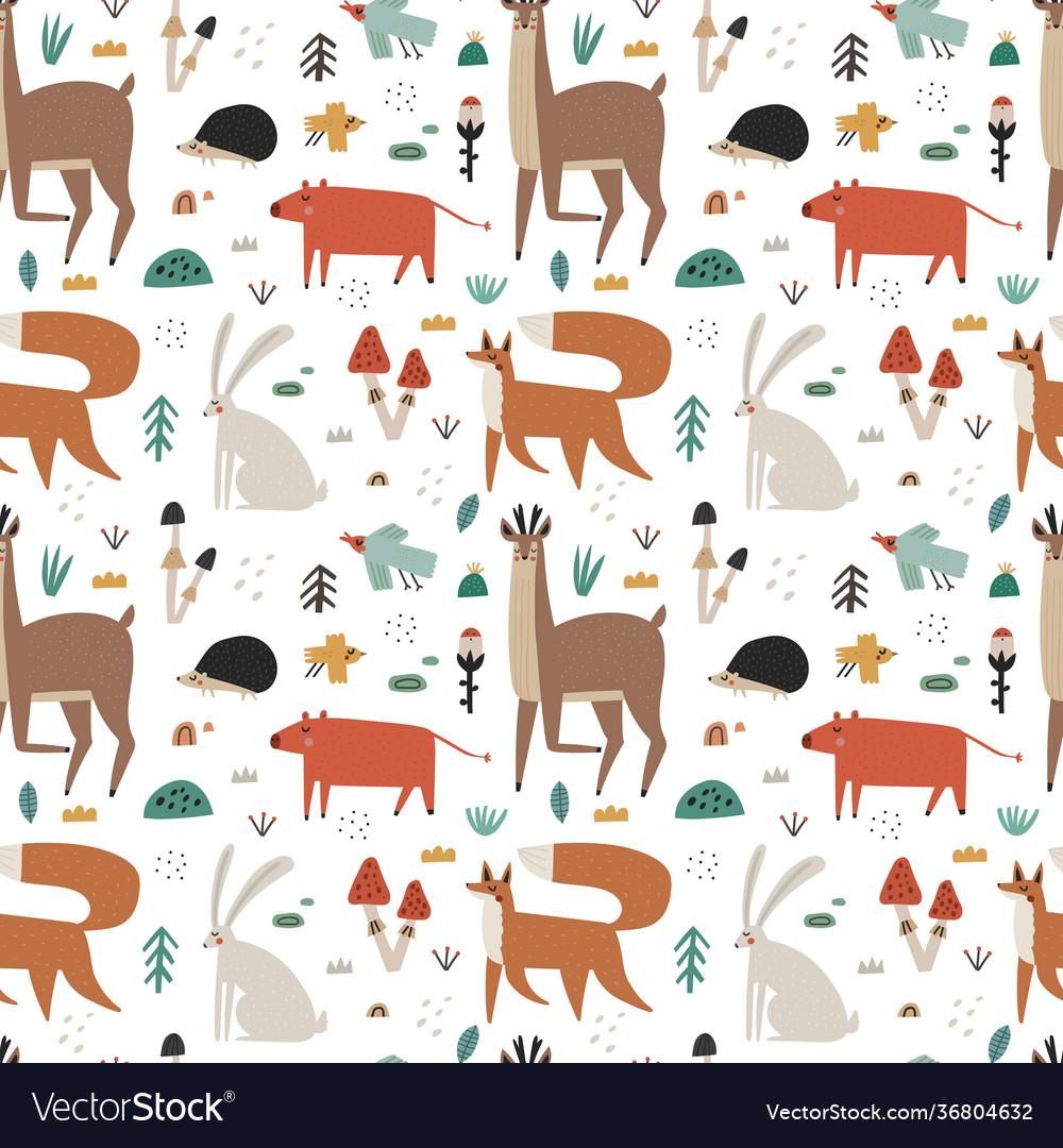 Seamless pattern with cute scandinavian woodland