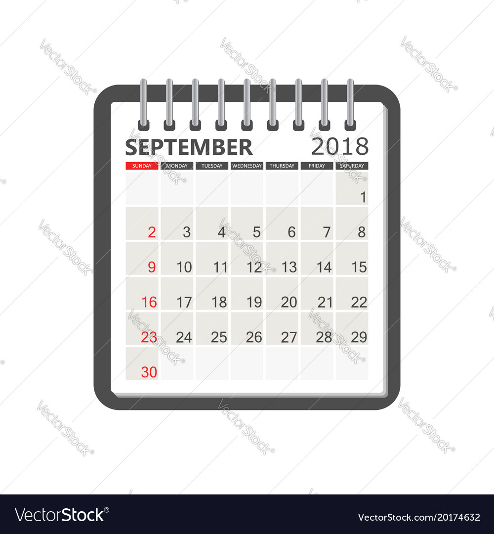 september 2018 calendar calendar notebook page vector image