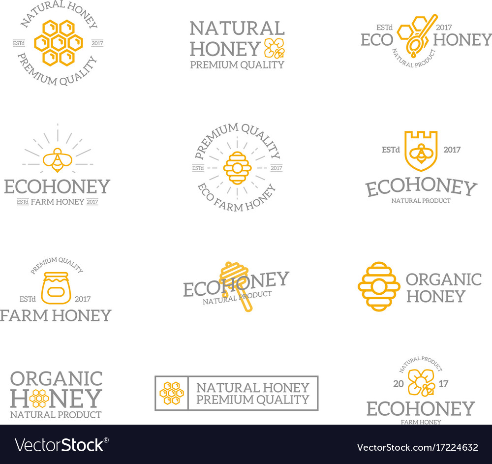 Set Of Retro Vintage Honey And Bee Logo Or Vector Image