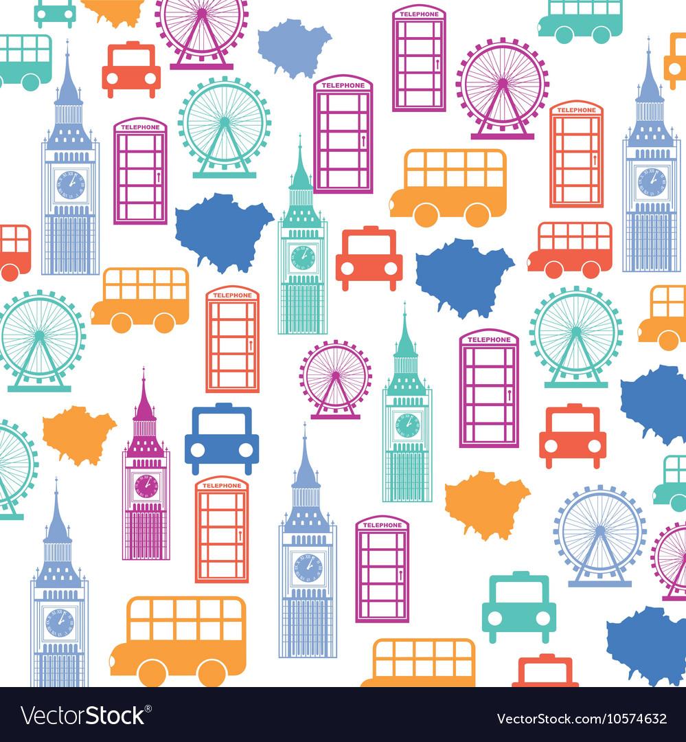 Set pattern icons london city trophy gold award