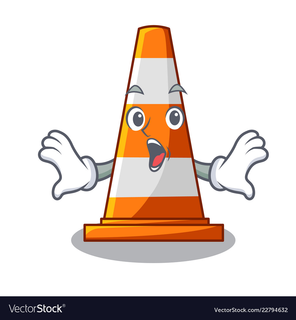 Types Of Cone Shapes: Surprised The Traffic Cone With Character Shape Vector Image