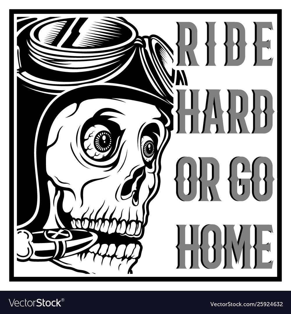 Vintage skull cafe racer wearing helmet and text