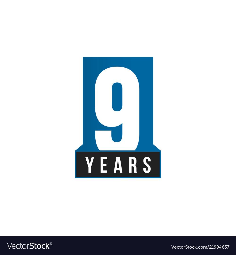 9 years anniversary icon birthday logo
