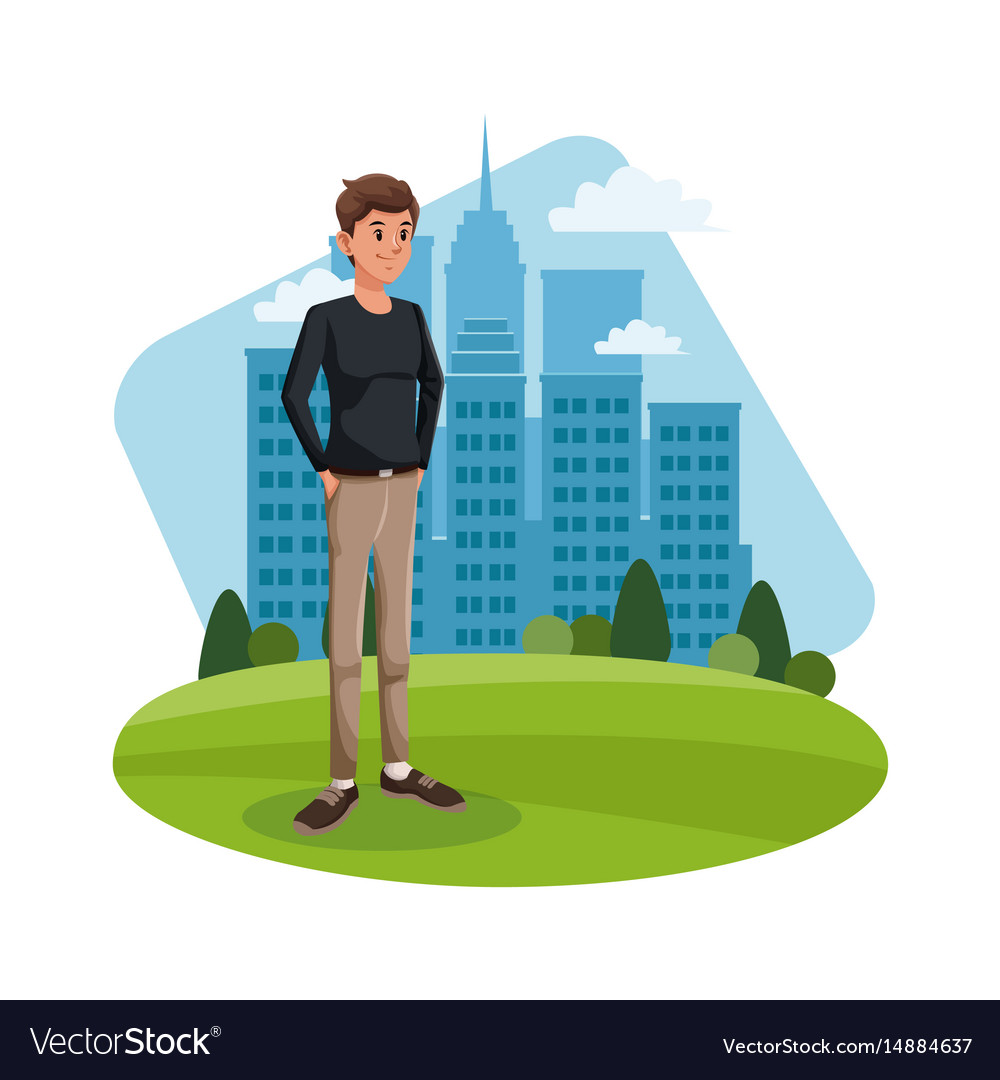 Cartoon guy standing grass with city building vector image