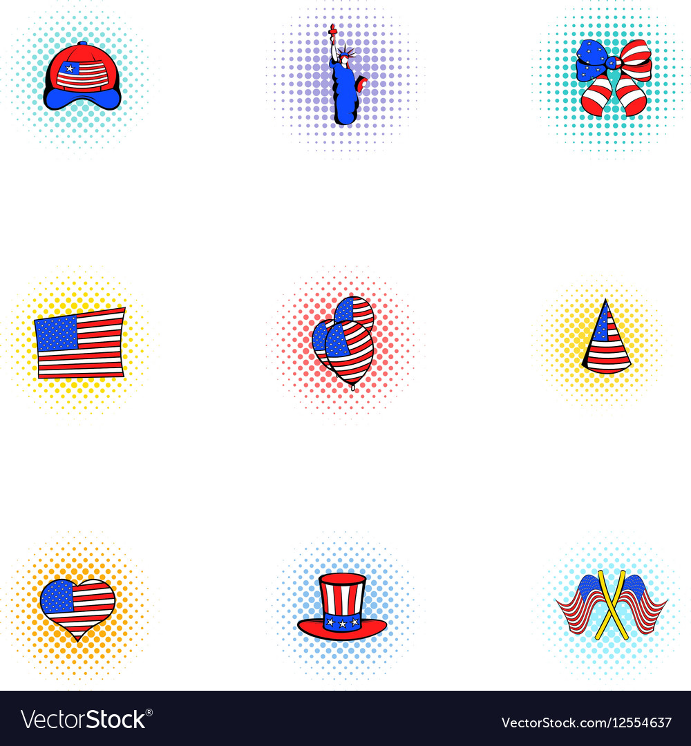 Celebration of independence day USA icons set