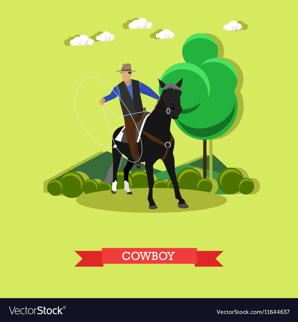 Cowboy on horse with lasso flat design
