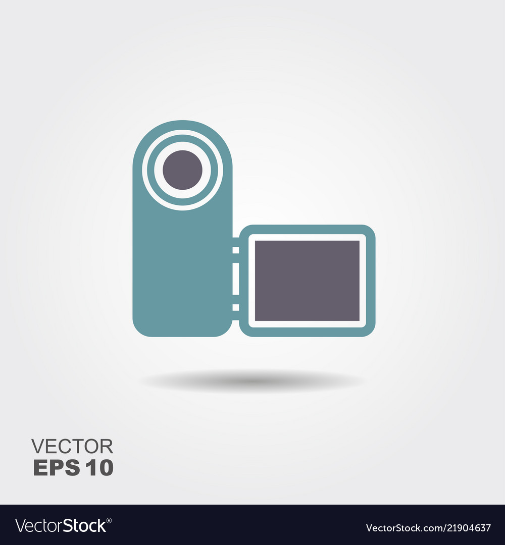Digital video camera icon in flat style isolated