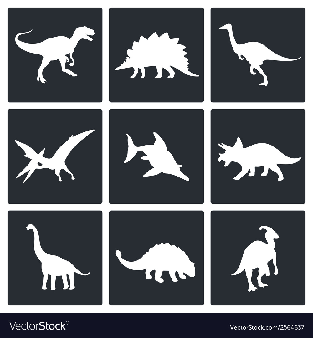 Dinosaurs icons set vector image