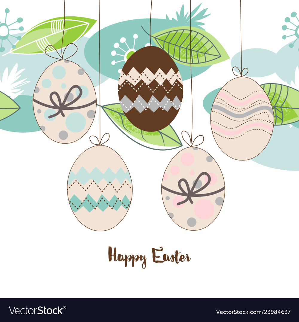 Easter seasonal background hanging decorated