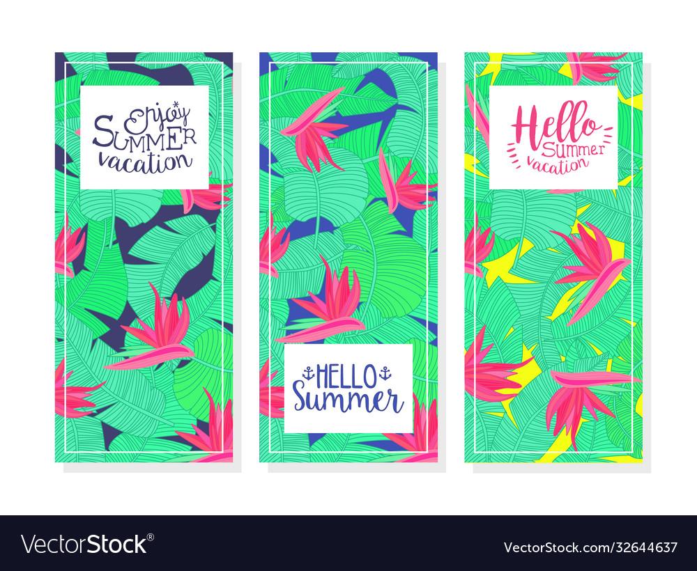 Enjoy summer vacation banner templates set