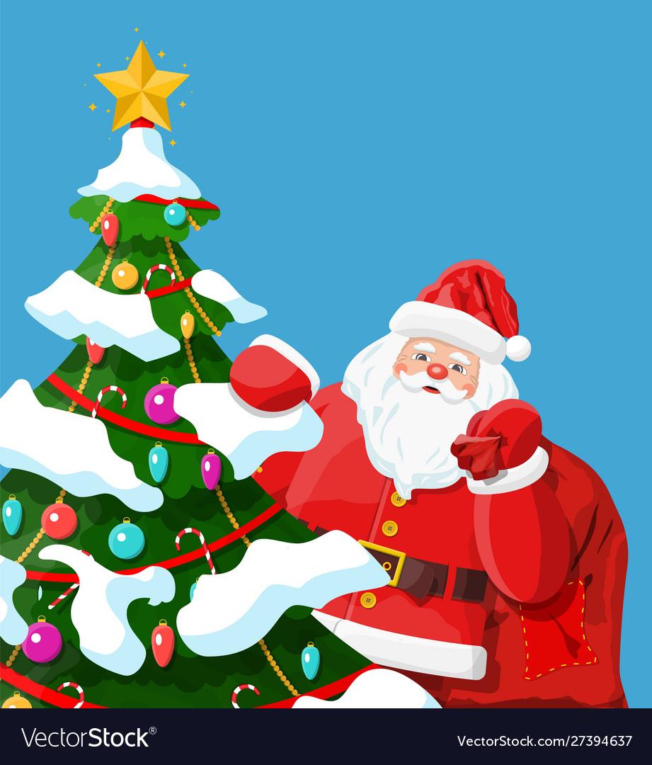 Funny santa claus character and christmas tree