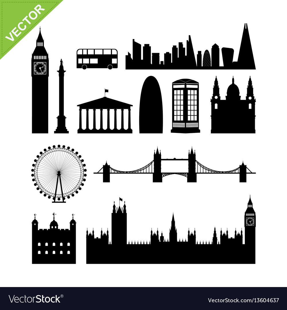 London england landmark silhouettes