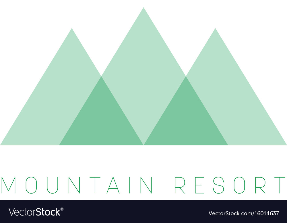 Mountain resort logo template green triangle