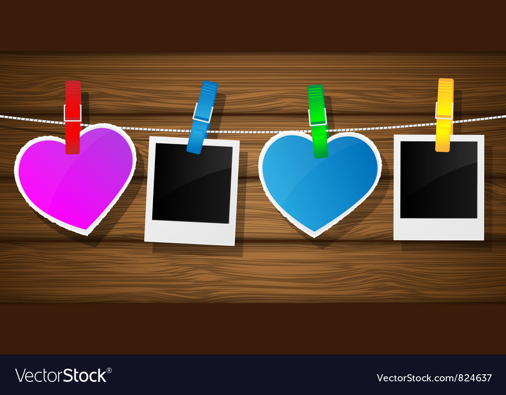 Photo frame clothesline vector