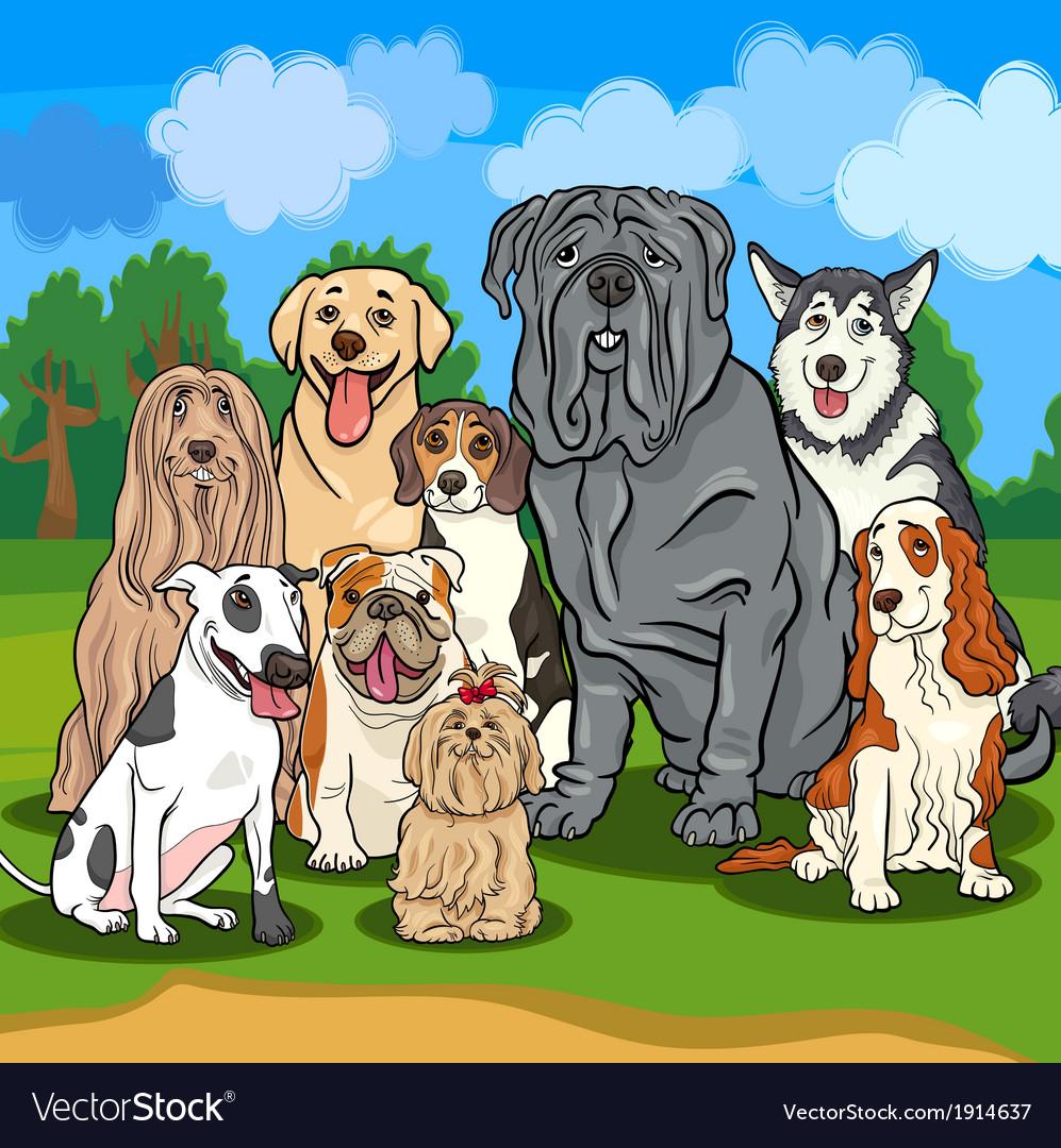 Purebred dogs cartoon