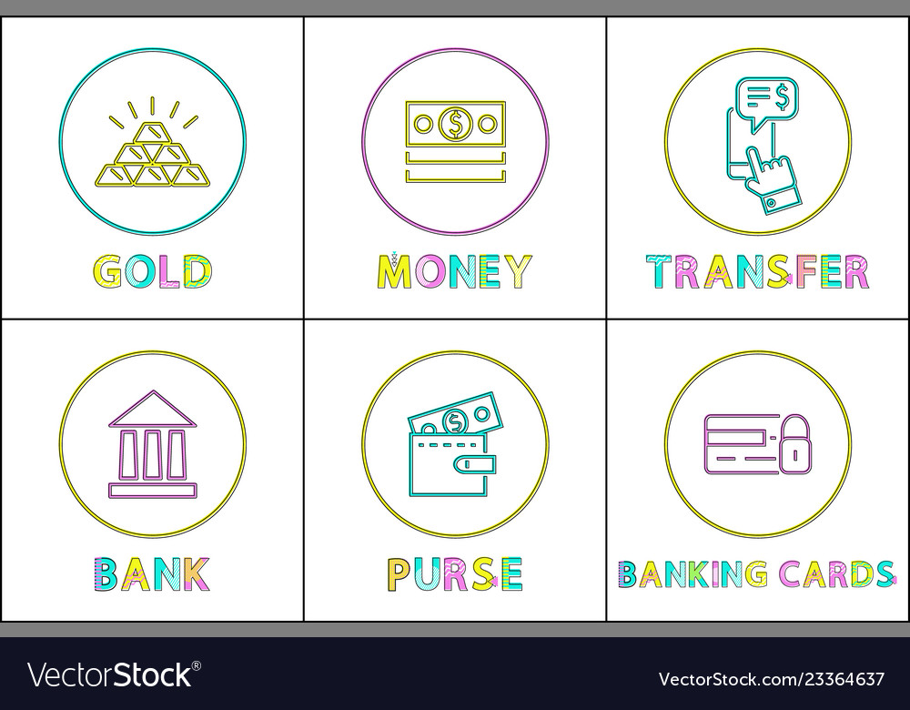 Set of finance money and bank icons in