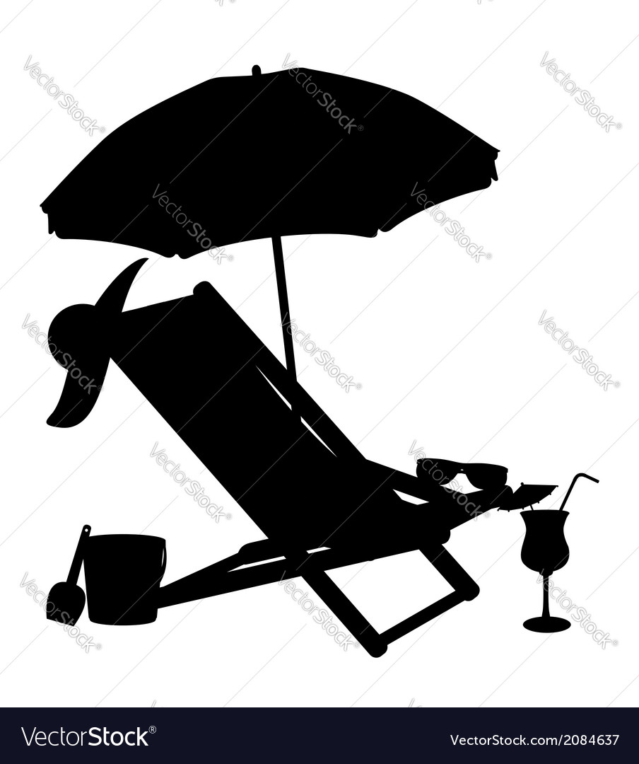 Silhouette of beach chairs and umbrellas