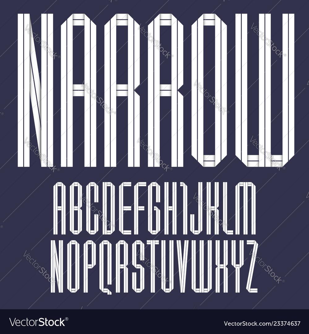Trendy alphabet folded of paper tape italic font