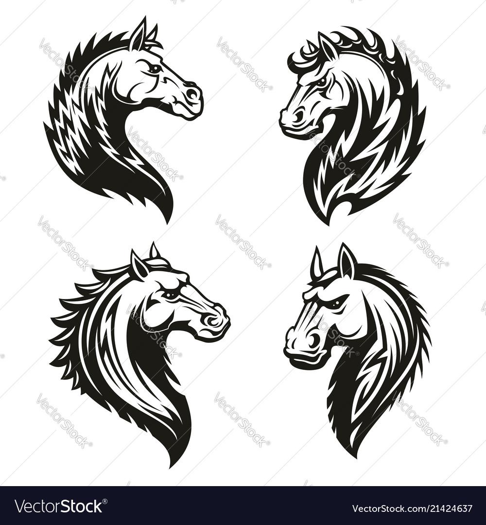 Tribal horse heads mascot or tattoo