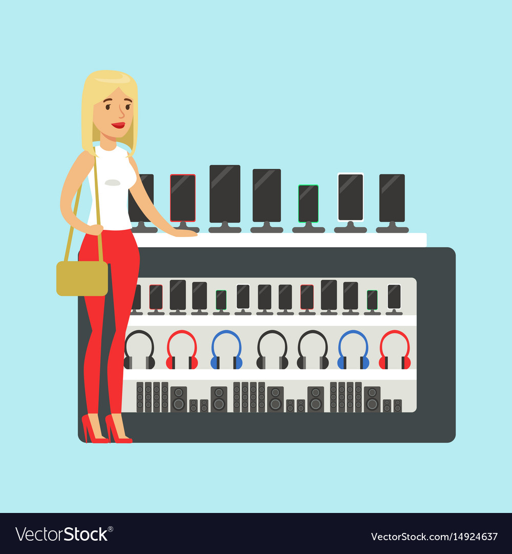 Young blond woman choosing a new mobile phone at vector image