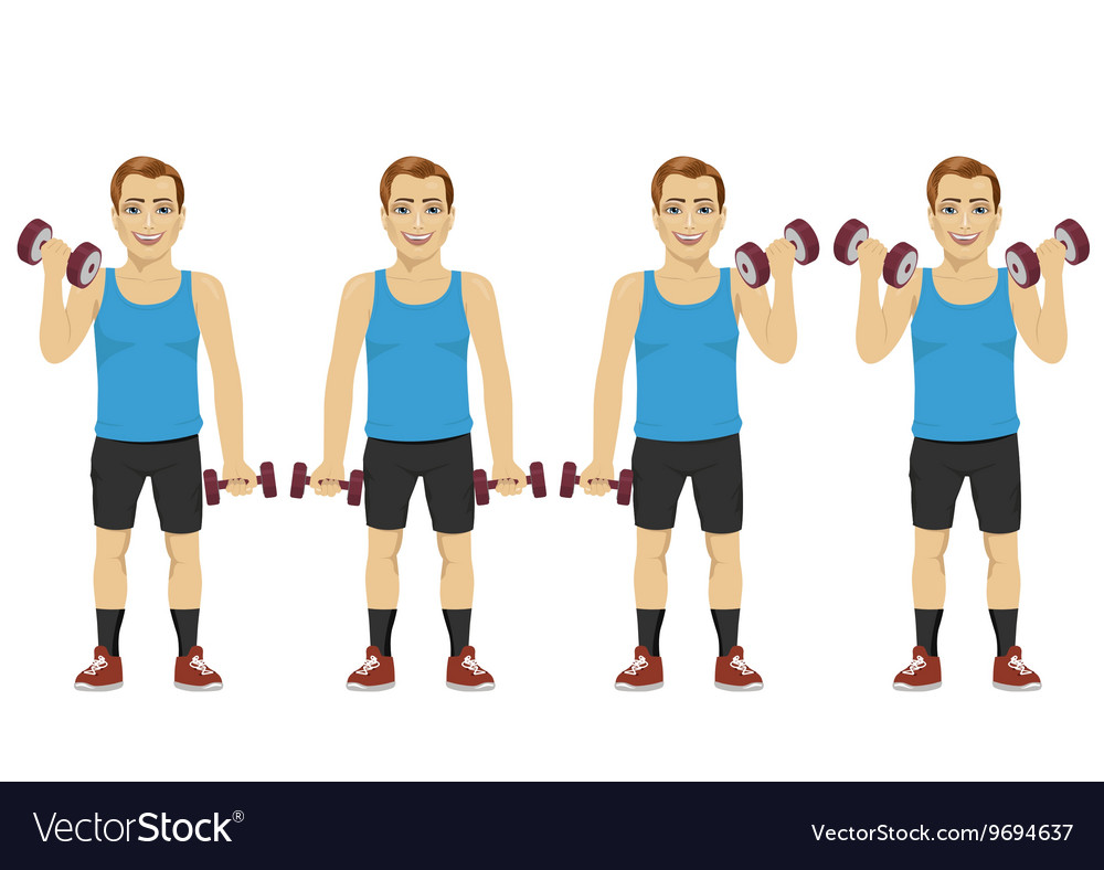 Young man doing dumbbell exercises
