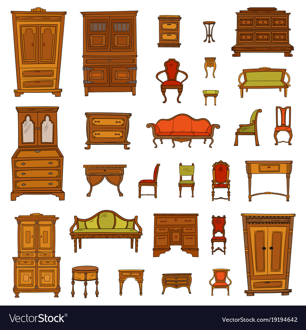- Antique Furniture Set - Closet Nightstand Chairs Vector Image