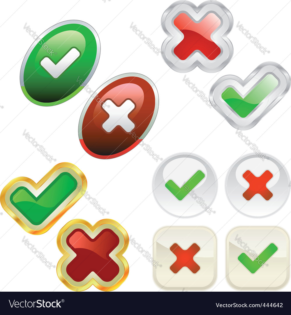 Check Up Icon. Approved And Rejected Icons