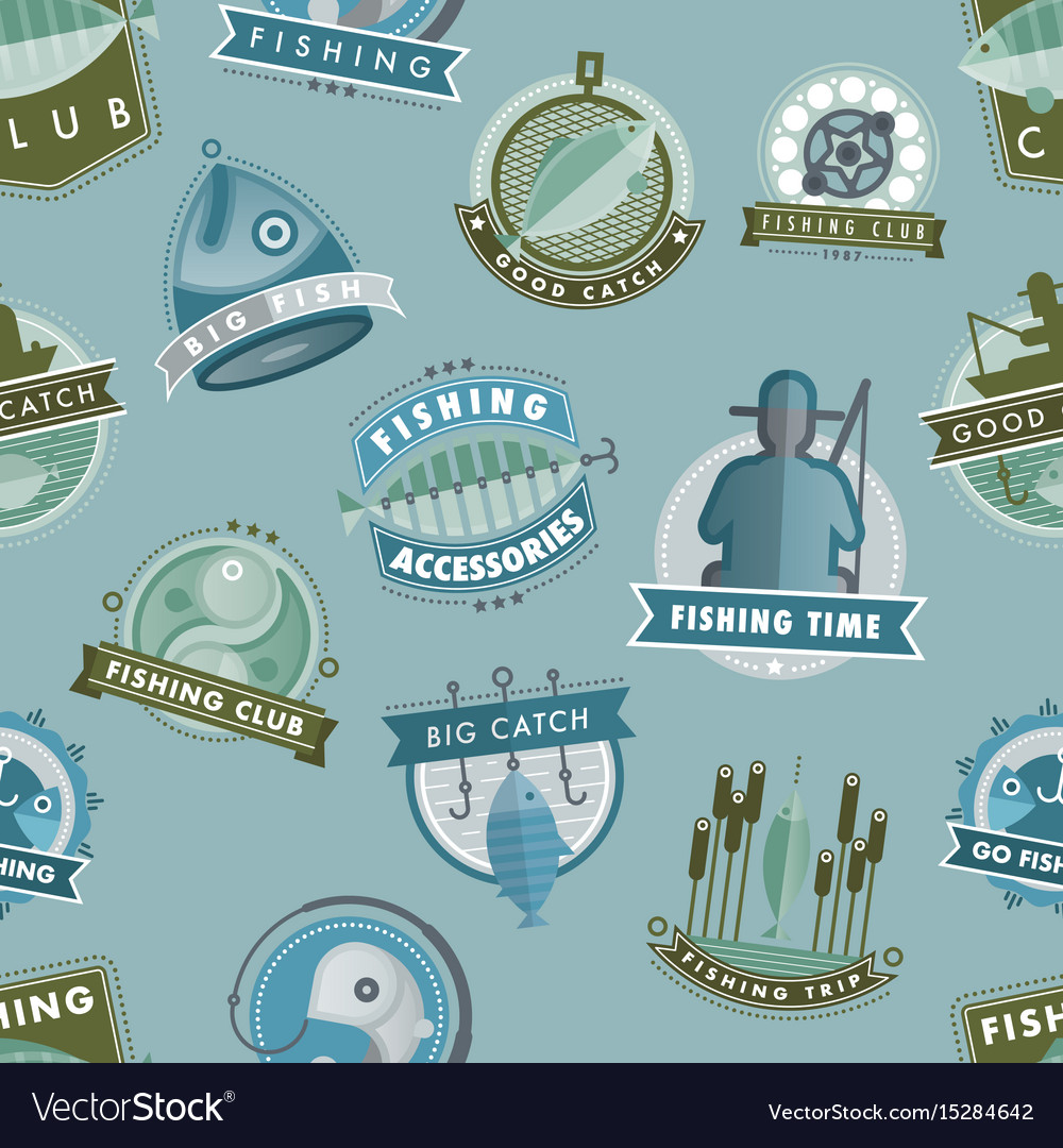 Badges catching fish fishing club or shop