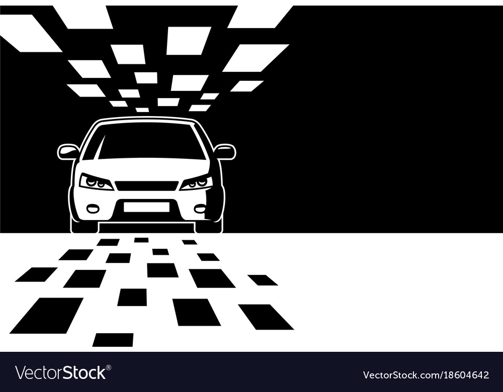 Black and white car silhouette with copy space vector image