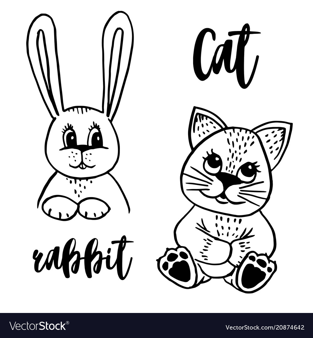 Doodle cat and rabbit