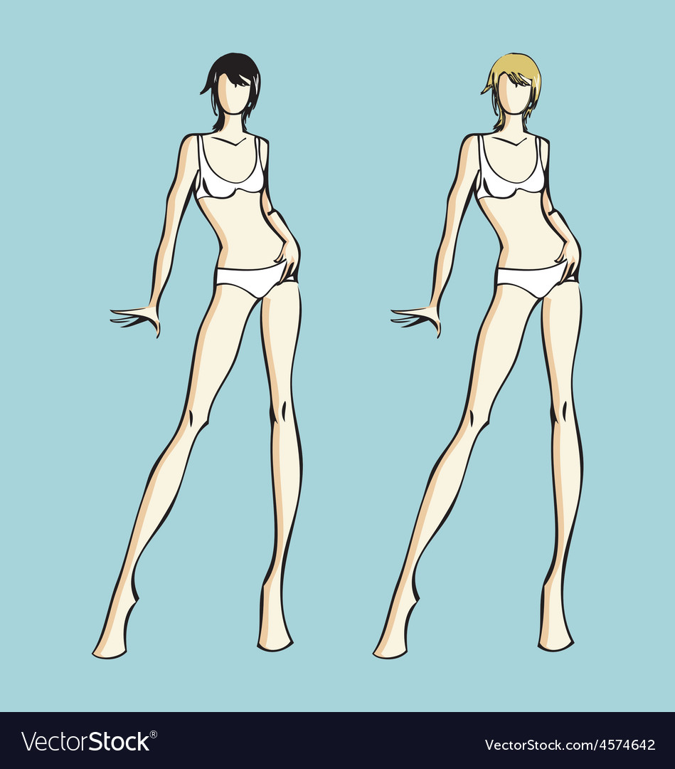 Fashion Design Female Models Template Royalty Free Vector