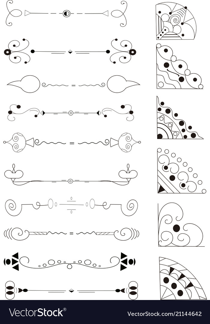 Hand drawn dividers lines borders and