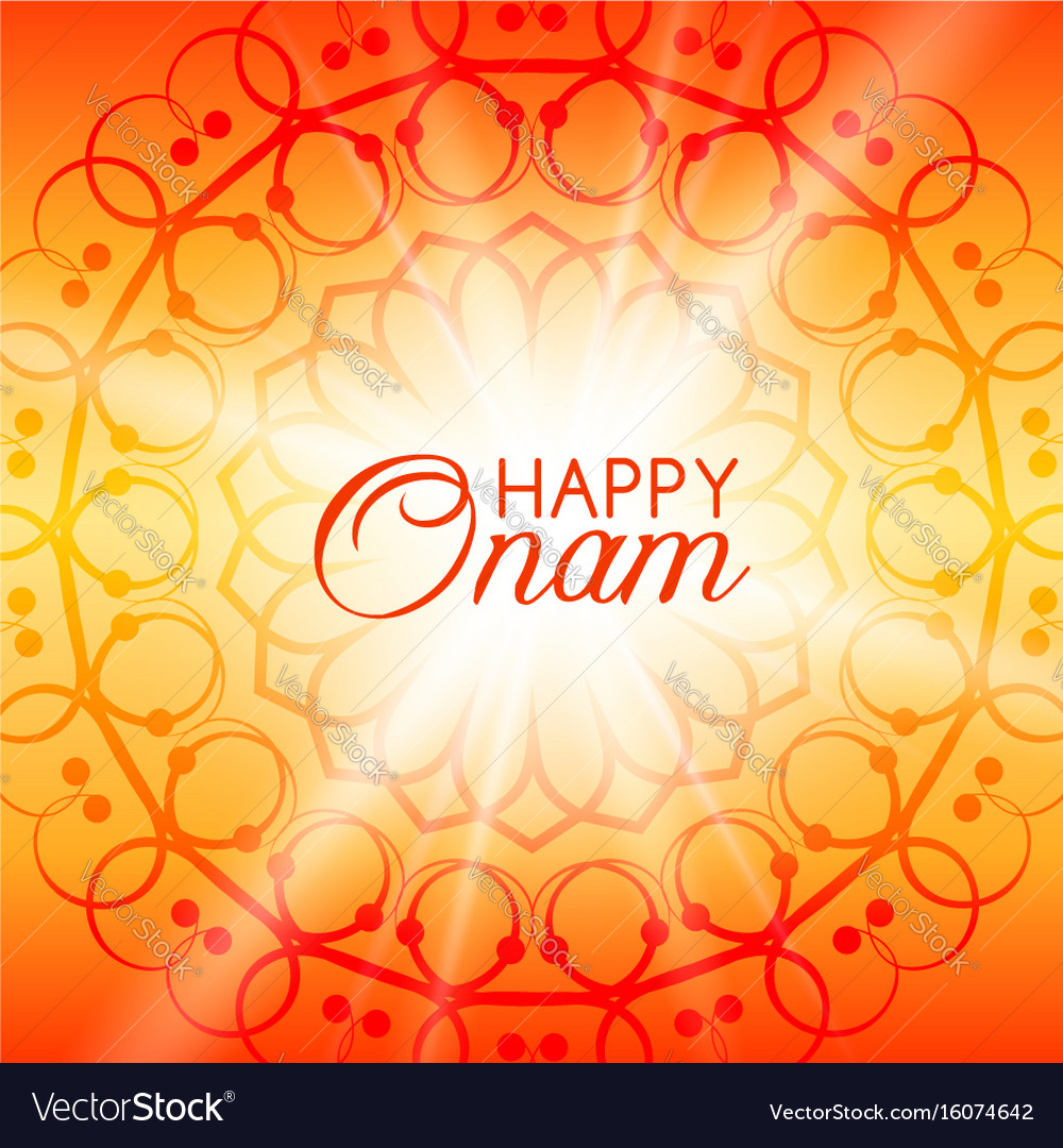 Happy Onam Greeting Card With Rangoli Royalty Free Vector
