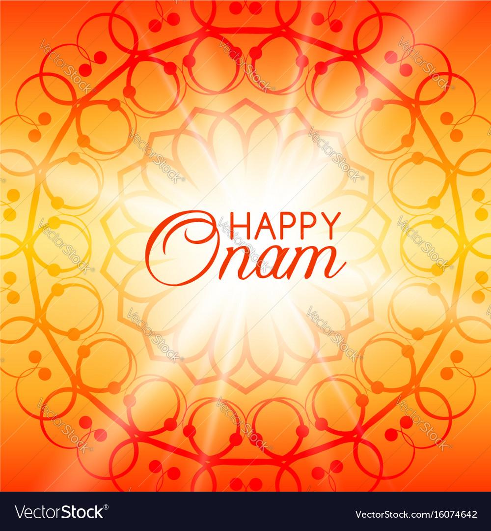 Happy onam greeting card with rangoli royalty free vector happy onam greeting card with rangoli vector image m4hsunfo