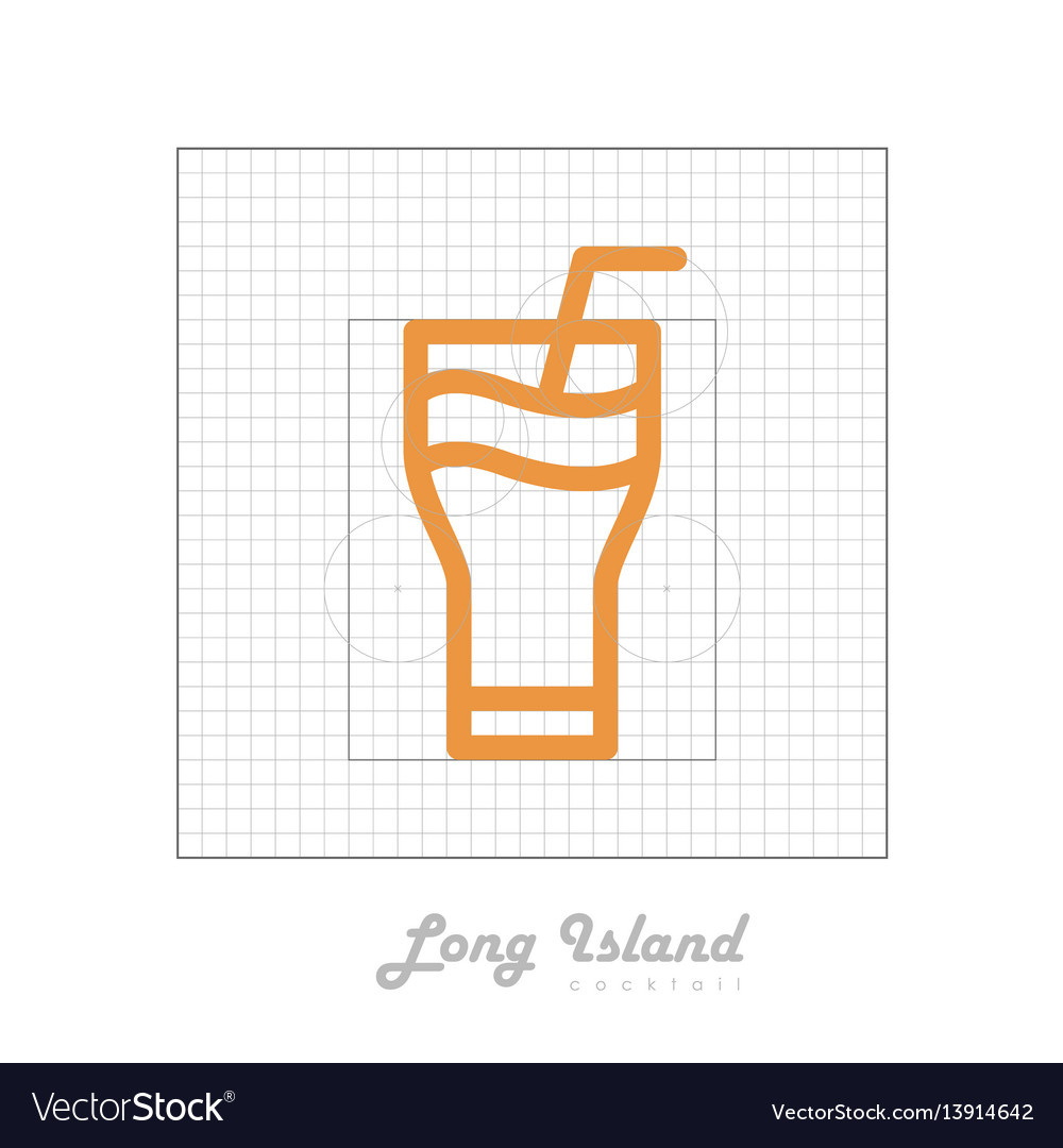 Icon of cocktail with modular grid long island vector image