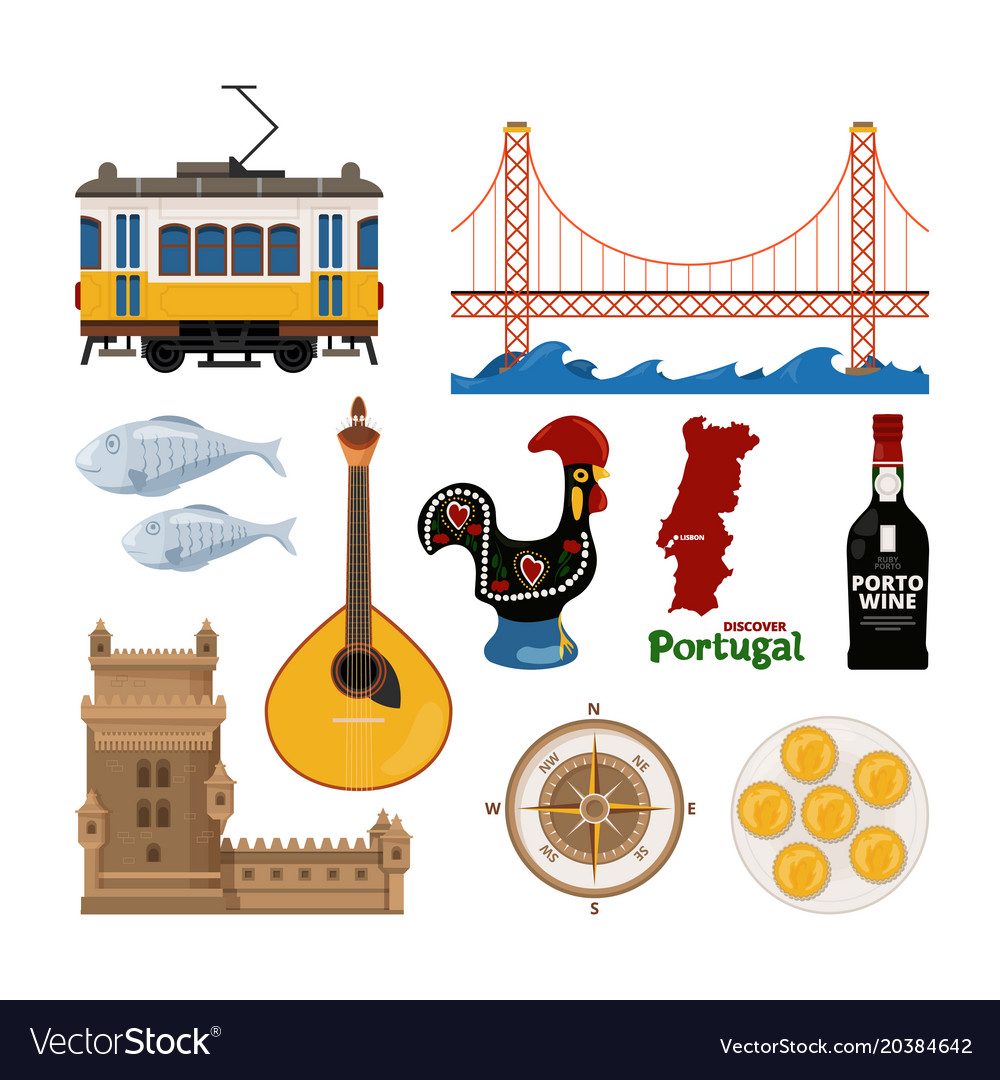 Portuguese icon set in flat style