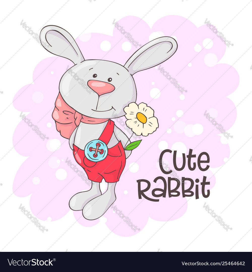 Postcard cute rabbit with flowers cartoon style