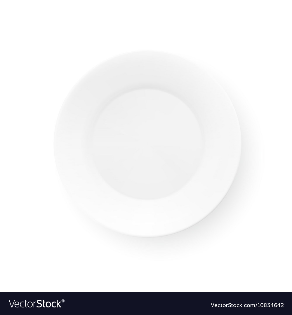 Realistic Plate Isolated On White Background Top