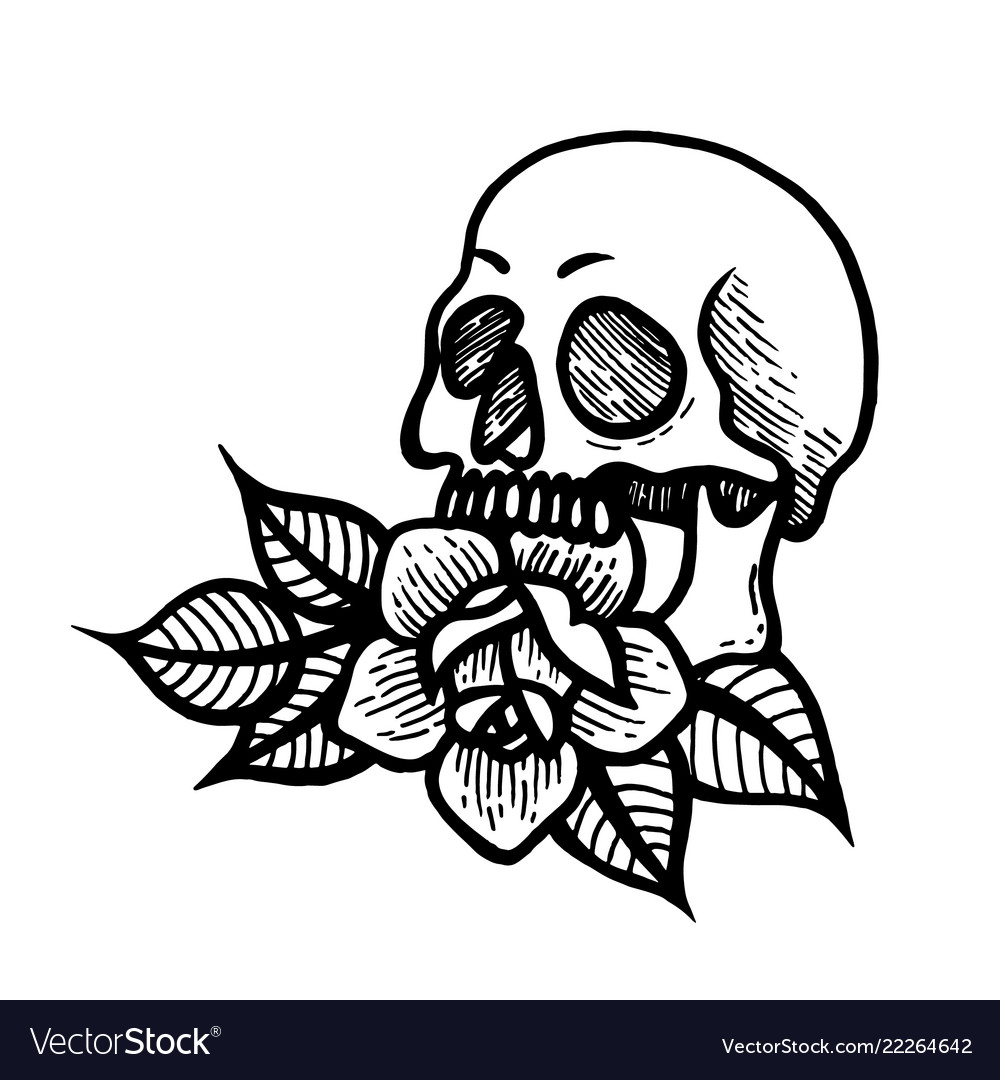 Rose Tattoo With Skull Roses Isolated Royalty Free Vector