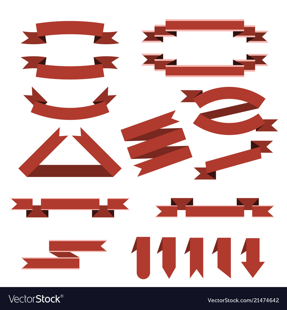 Set of red ribbonsbookmarks in flat style