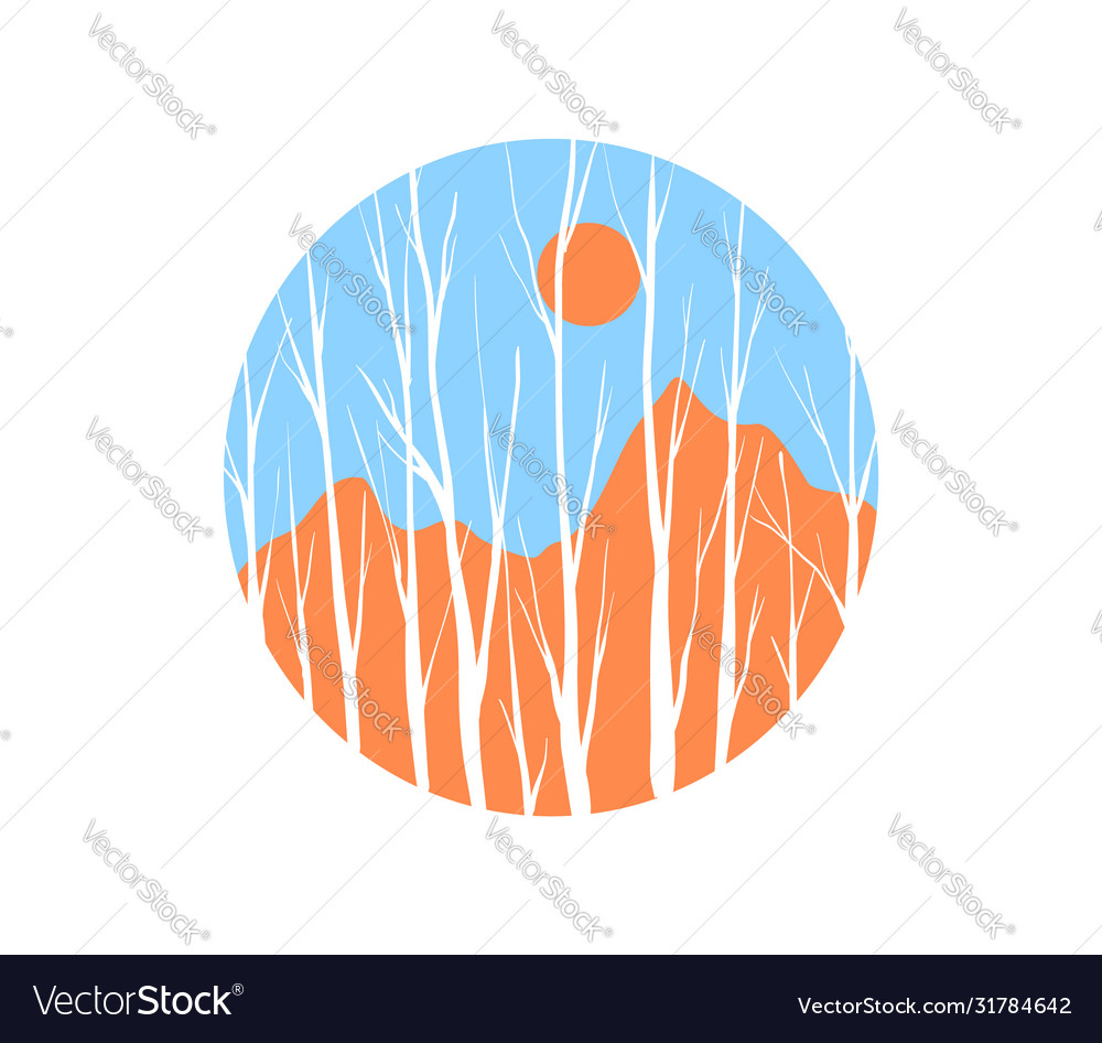 Winter tree forest circle landscape concept