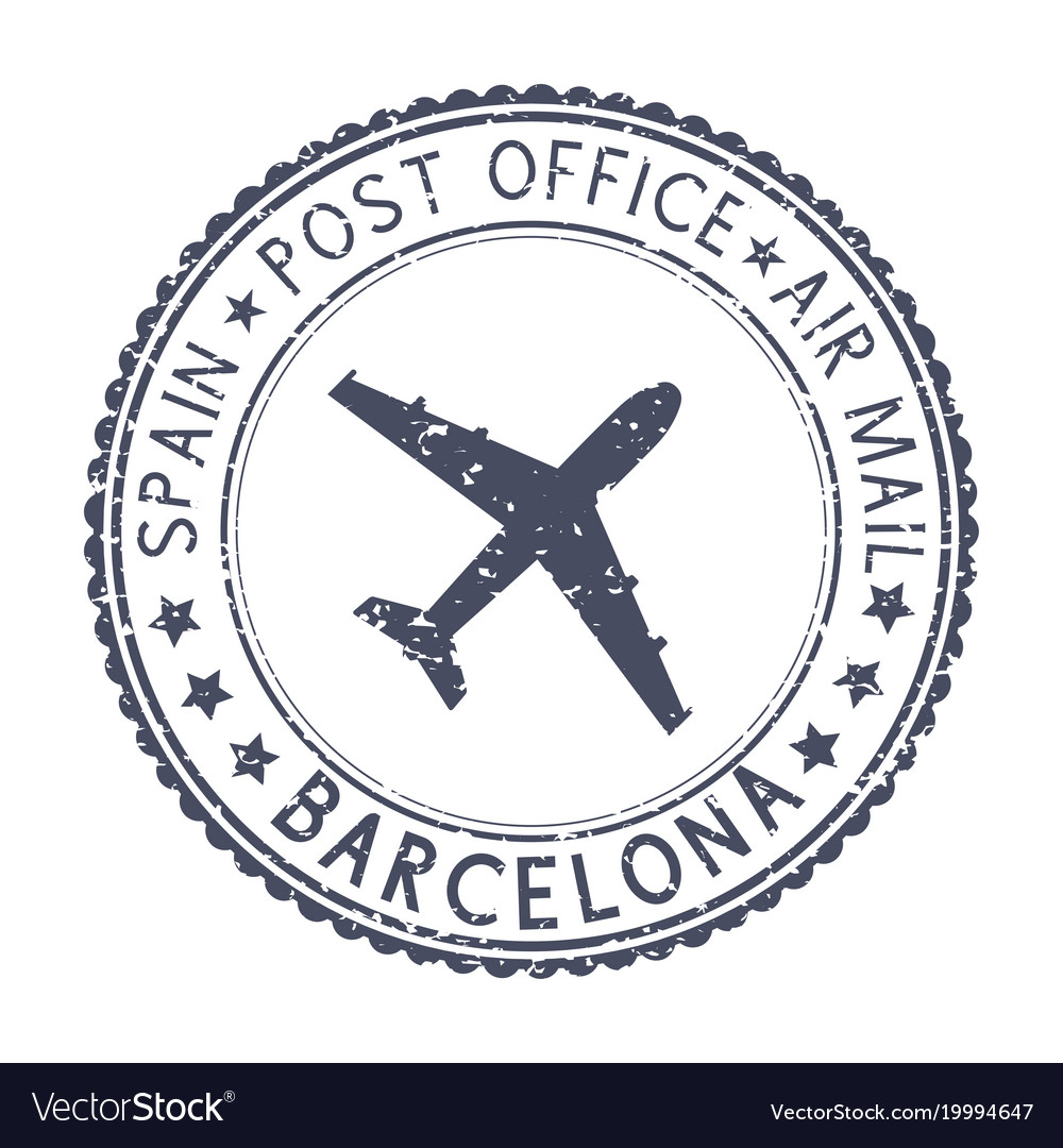 Black Stamp With Barcelona Spain And Aircraft Vector Image
