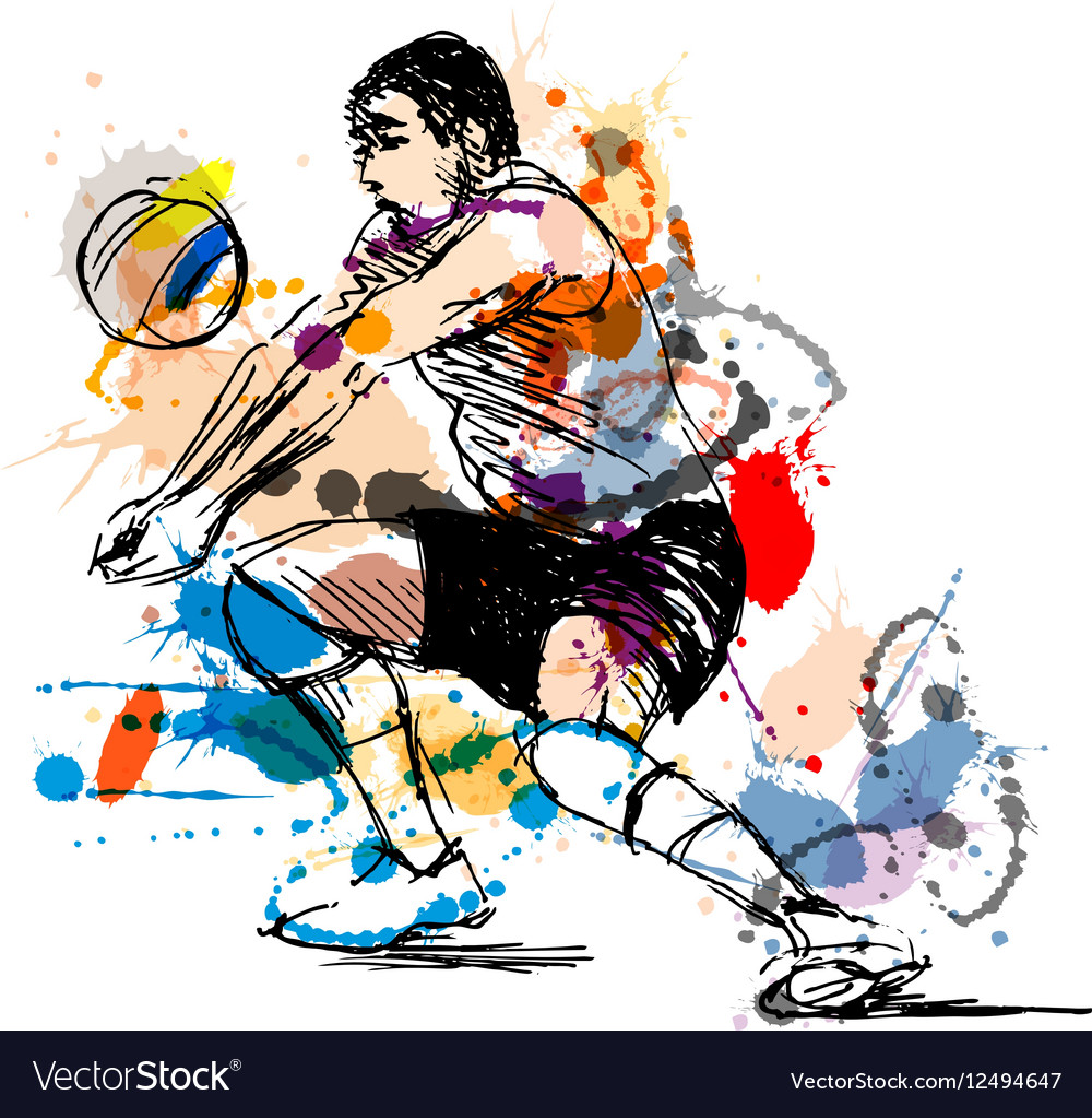 Colored hand sketch volleyball player vector image