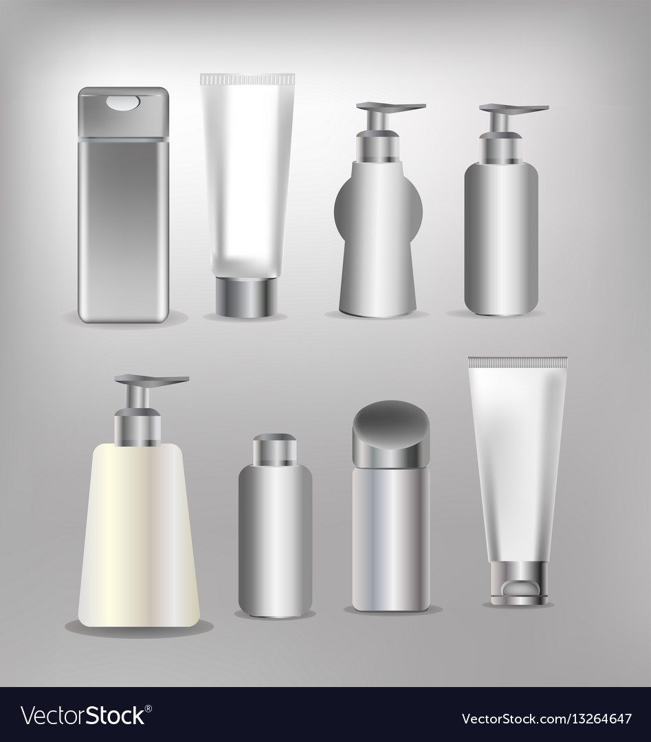 Cosmetics containers packaging box vector image