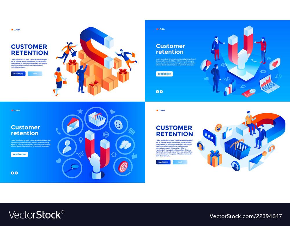 Customer retention banner set isometric style